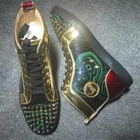 Cl Christian Louboutin Lou Spikes Style #2189 Sneakers Fashion Shoes - Best Online Sale