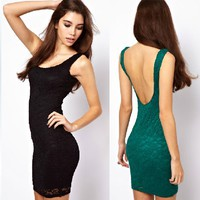 Trendy Backless Lace Dress