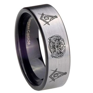 8mm Masonic 32 Design Pipe Cut Brushed Silver Tungsten Carbide Bands Ring