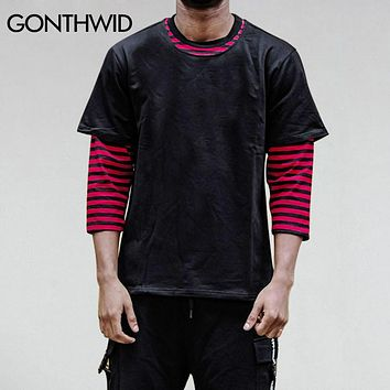 Summer Men Three Quarter Sleeve Striped T-Shirt Men's 3/4 Sleeve Tops Tee Male Two Piece Casual Cotton T Shirts