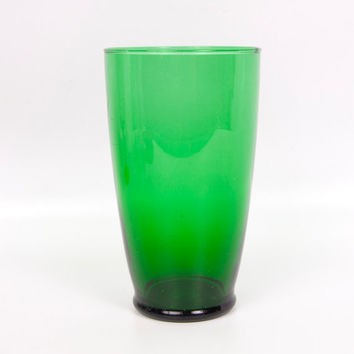 Vintage Emerald Green Wide Mouth Vase Tumbler Art Glass Flared Rim Large Beer Glass Tall Barware