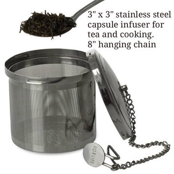 Large Stainless Steel tea infuser with hanging chain.
