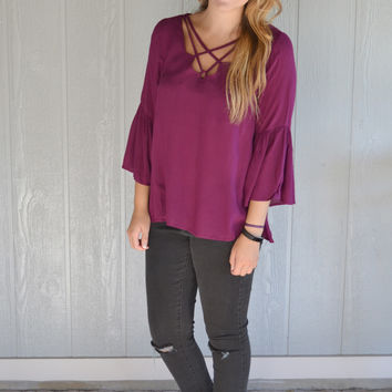 Simple Details Bell Sleeve Detail Top: Wine