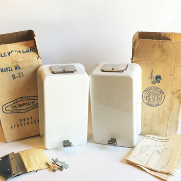 Pair of Vintage White Bobrick Powdered Soap Dispensers, 1967