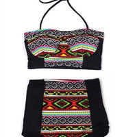 Black Aztec Tribal Tribute Top and Retro Vintage High Waist Waisted Shorts Bottom Bikinis set Two-piece 2 PC Swimwear Bathing suit S M