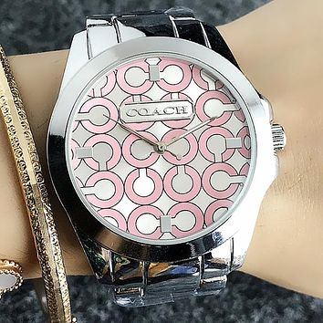 """COACH"" Popular Woman Men Chic Casual Quartz Movement Wristwatch Couple Watch Silvery Pink I-H-JH"