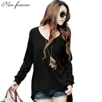 Autumn Fashion New Arrival Casual Round Neck Street Style Women Sexy Long Sleeve Asymmetric Black Tees Top T-Shirt 425