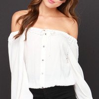 Dancing in the Moonlight Ivory Off-the-Shoulder Top