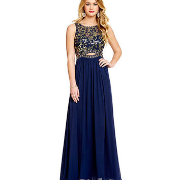 B. Darlin Sequin Pattern Lace Cut-Out Waist Gown | Dillards