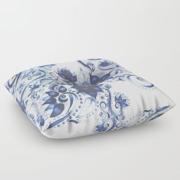 Ballpoint Florals Floor Pillow by DuckyB