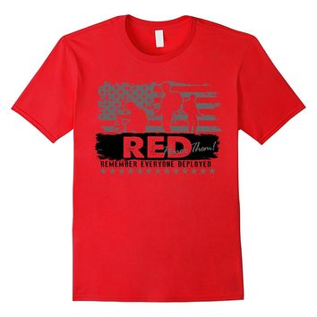 US Navy Tee Shirt - RED Remember Those Deployed Honor Them!
