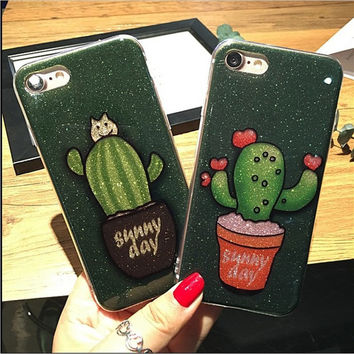 Luxury flash powder for iphone7 6s phone shell for Apple 7plus all-inclusive soft shell 6s protective sleeve 4.7 cactus -0325