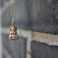 Buddha necklace - bronze Buddha pendant . yoga jewelry . 14K gold-filled chain . simple, minimal charm jewelry