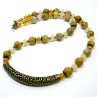 Yellow Crazy Lace Agate Orange Agate Cream Jade Floral Focal Necklace