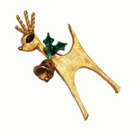 MYLU Reindeer Brooch ChristmasPin with Red  rhinestone gold tone