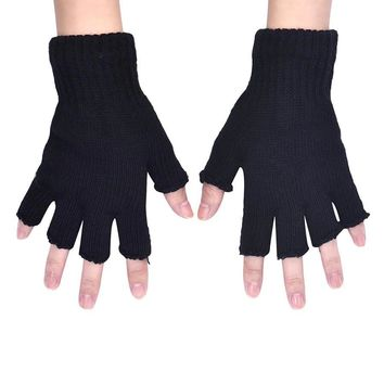 Men Black Knitted Stretch Elastic Warm Half Finger Fingerless Gloves Hot Sale Practical Design Winter Useful Gloves Mittens