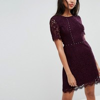 Morgan Allover Lace Fit & Flare Dress With Stud Detail at asos.com