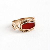 Antique 10k Yellow Gold Carnelian Ring - Vintage Edwardian 1910s Size 4 3/4 Dark Red Gem Woven Band AR Adolph Rosenberg Fine Antique Jewelry