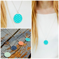 Sea of Cortez Chevron Circle Pendant Necklace
