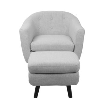 Rockwell Chair with Ottoman Light Grey