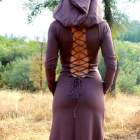 The Nienna Dress With Sleeves N Open Back N Big Elf Hood, gypsy, hippie dress, sexy, elf, elven, elvish, fairy, Bohemian