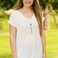KLR Perfect Piko V-Neck - Off White | Tops | Kiki LaRue Boutique