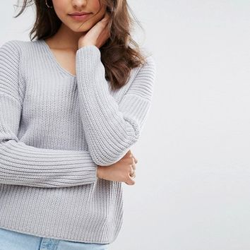 ASOS Ultimate Chunky Sweater With V Neck at asos.com