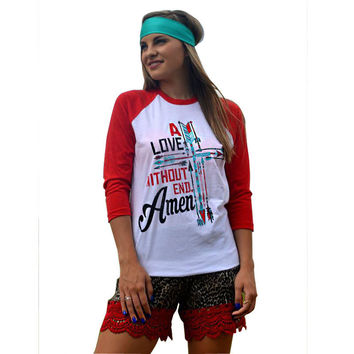 Red and White Letter Print T-Shirt