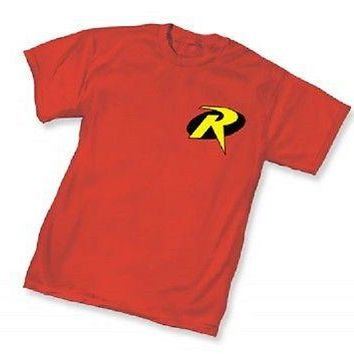 DC ROBIN SYMBOL Logo - RED ADULT Licensed T-Shirt -  Batman S-3XL