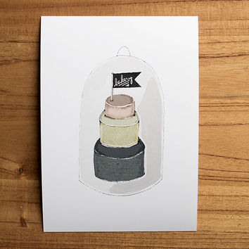 Bakery Illustration Cake in a Cloche Wall Decor Illustrated Fine Art Print Kitchen Art Cake Illustration