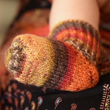 Thin wool socks in autumn colors, newborn socks, brown red orange striped, thin wool baby booties, handknit