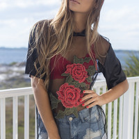 Late Night Black Rose Top