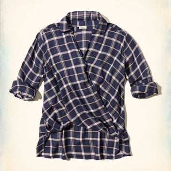 Plaid Wrap Front Shirt