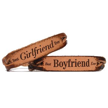 Best Boyfriend Ever Best Girlfriend Ever Leather Bracelets (Pair)