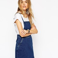 ASOS Denim Aline Pinafore Dress at asos.com