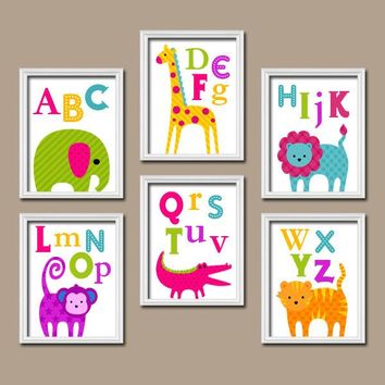 Jungle ANIMAL Wall Art, ABC Prints, Safari Girl PLAYROOM Wall Art, Baby Girl Nursery Decor, Alphabet Pictures, Canvas or Prints, Set of 6