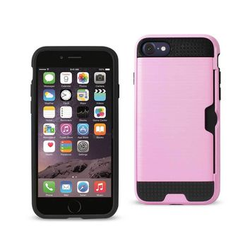 New Slim Armor Hybrid Case With Card Holder In Pink For iPhone 7