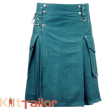 Green Cargo Utility Kilt For Men's Custom Made
