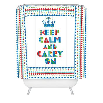 Andi Bird Keep Calm And Carry On Shower Curtain