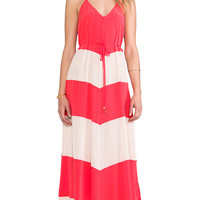 Karina Grimaldi Somer Combo Maxi Dress in Coral
