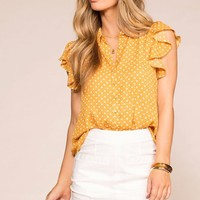 Arianna Mustard Dotted Ruffle Blouse