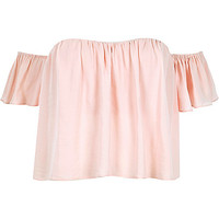 River Island Womens Pink short sleeve bardot top