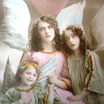 Antique french postcard - Angel christmas photo hand tinted, rppc 1910, vintage postcard