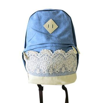 Retro Cute Lace Denim Girls Womens Travel Campus School Book Bag Canvas Backpack Blue