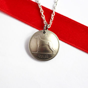 Domed Coin Necklace, 6 Pence, 1963, Ireland, Irish Wolfhound, Harp, Vintage Jewelry by Hendywood