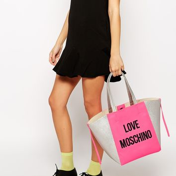Love Moschino Logo Shopper Bag in Pink
