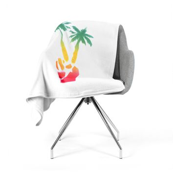"Infinite Spray Art ""Peace Palms"" Palm Tree Fleece Throw Blanket"