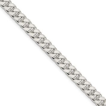 Men's 7mm, Sterling Silver Solid Domed Curb Chain Necklace, 24 Inch