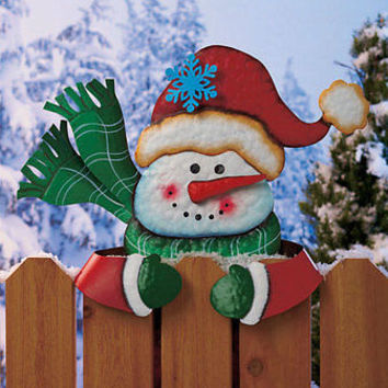 Metal Holiday Snowman Fence Topper Outdoor Yard Garden Christmas Seasonal Decor