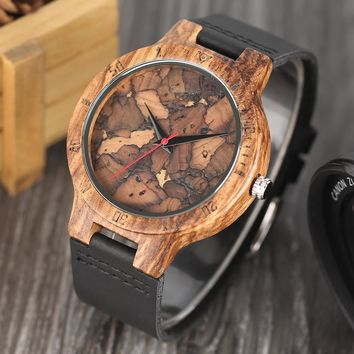 Simple Wood Watch Men's Minimalist Design WristWatch Original Wooden Bamboo Watch Male Montre Homme
